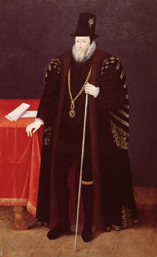Detail of Portrait of William Cecil, 1st Baron Burghley Lord High Treasurer by English School
