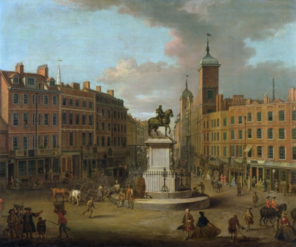 Detail of A View of Charing Cross and Northumberland House by Joseph Nickolls