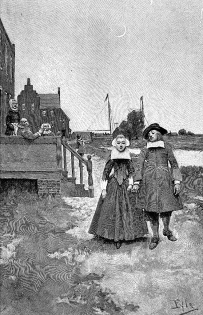 Detail of Along the Canal in Old Manhattan by Howard Pyle