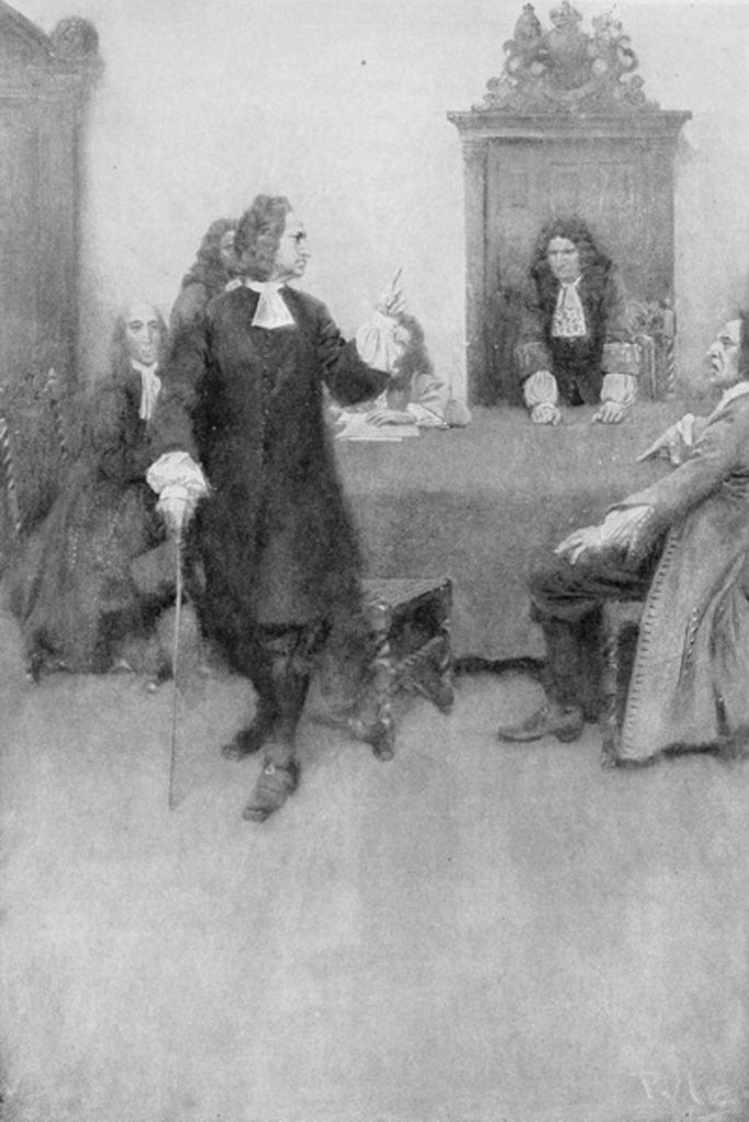 Detail of An Interview between Sir Edmund Andros and James Blair by Howard Pyle