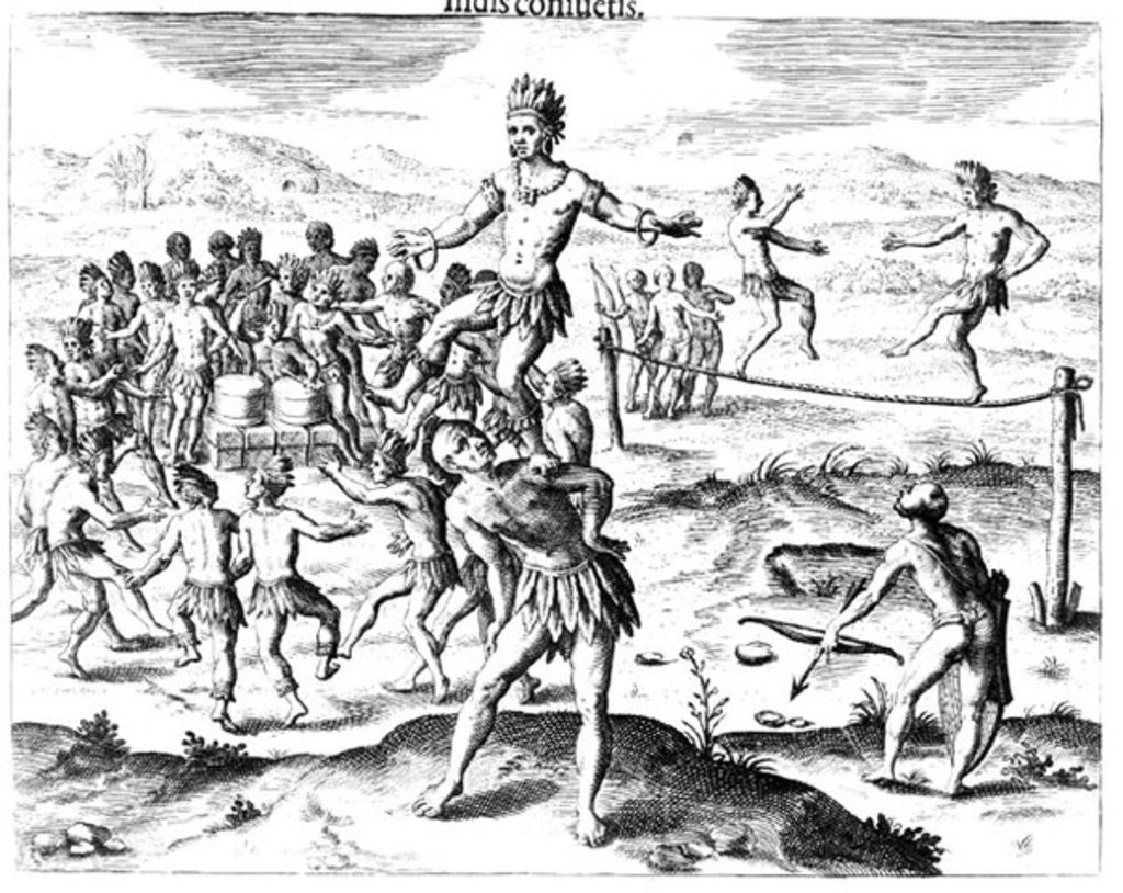 Detail of Various Indian Games, from 'Americae' by Jacques Le Moyne