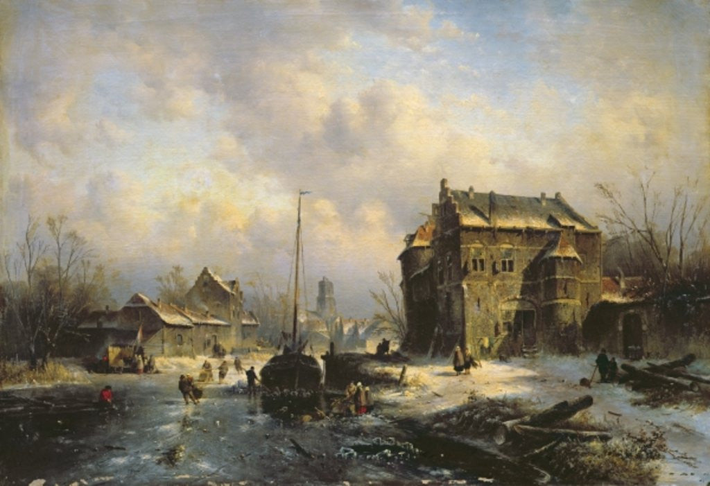 Detail of Winter Scene by Charles-Henri-Joseph Leickert