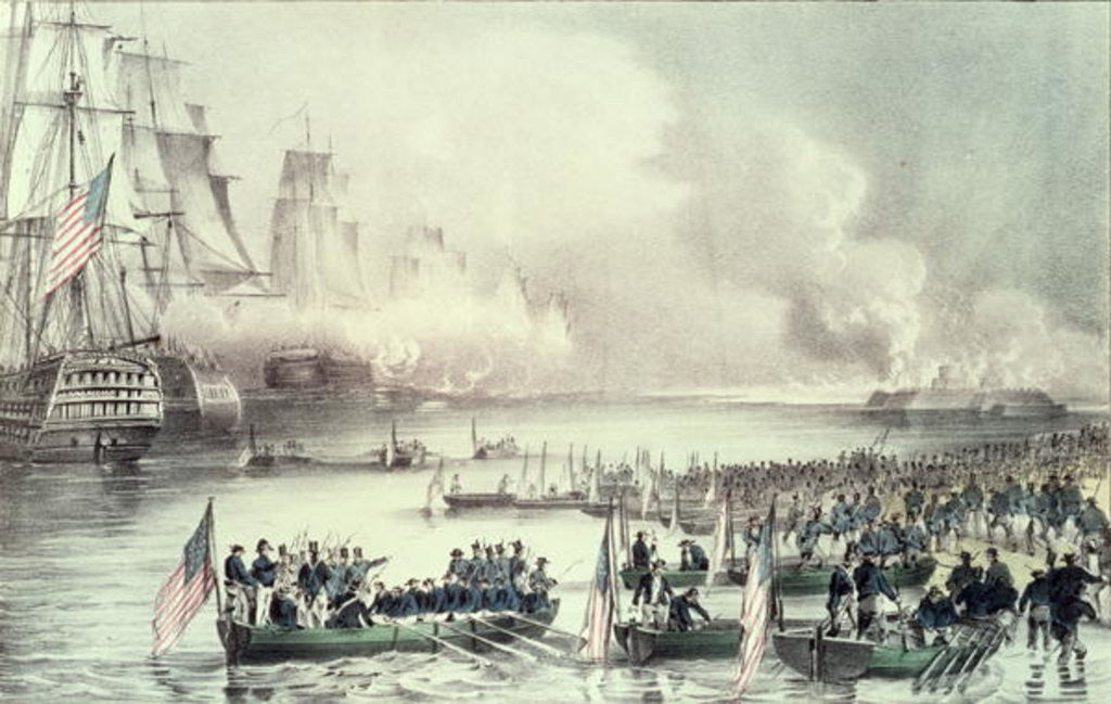 Detail of Royal Squadron off the Coast by N. and Ives