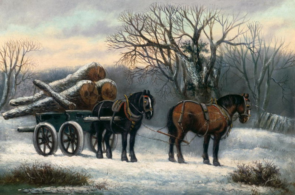 Detail of The Timber Wagon in Winter by Anonymous