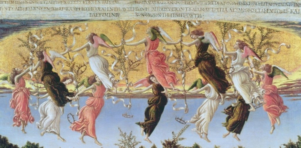 Detail of Mystic Nativity by Sandro Botticelli