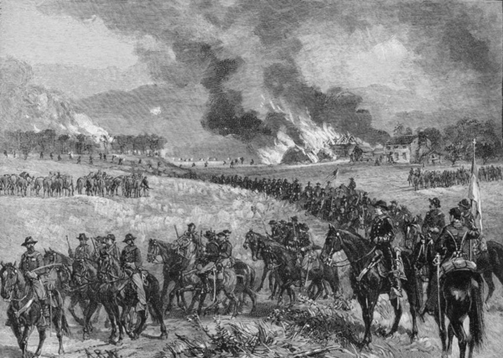 Detail of The rear-guard: General Custer's division retiring from Mount Jackson, October 7th 1864 by Alfred R. Waud