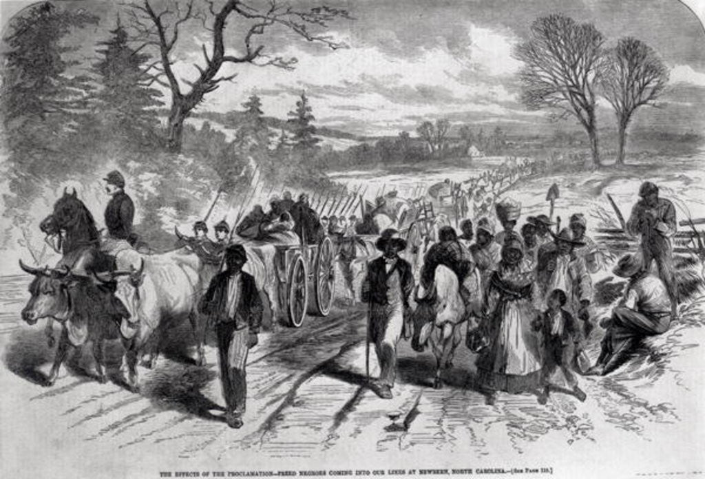 Detail of The Effects of the Proclamation: Freed Negroes Coming into Our Lines at Newbern, North Carolina by American School
