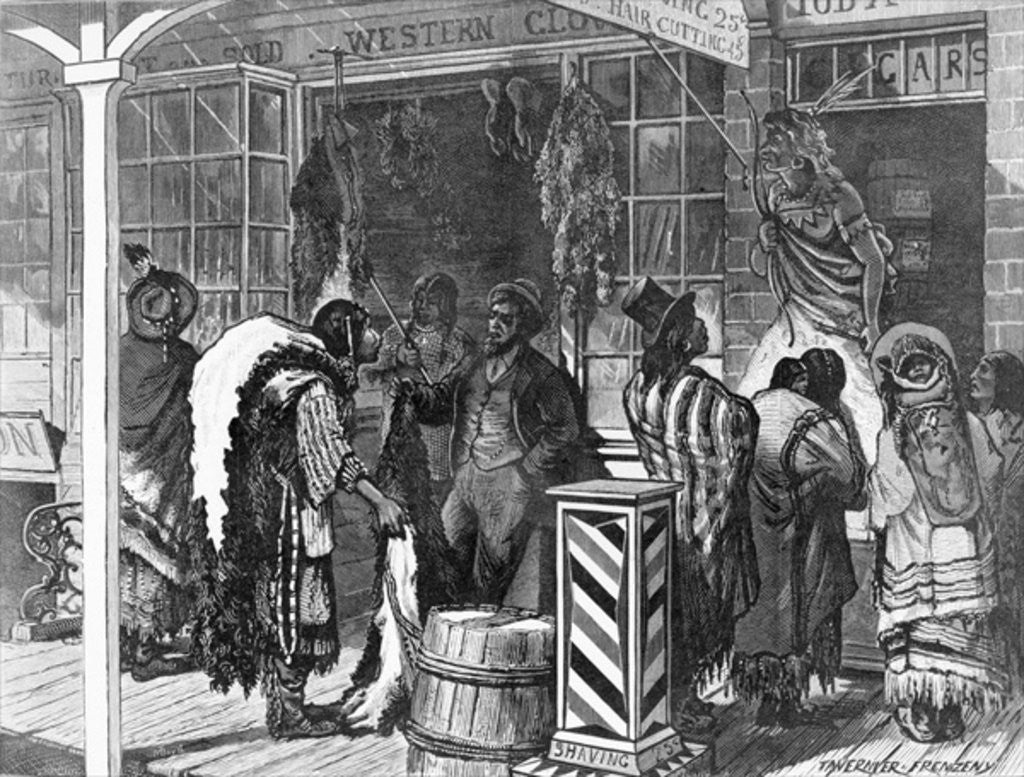 Detail of Indians Trading at a Frontier Town by American School