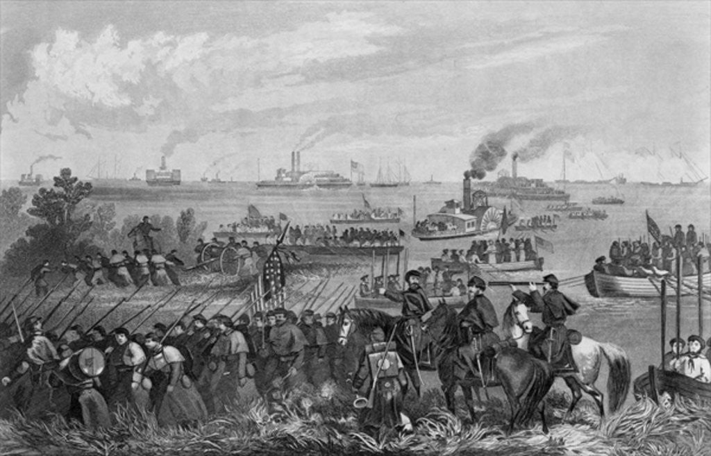 Detail of Landing of troops on Roanoke Island, Burnside Expedition, 8th February 1862 engraved by George E. Perine by William Momberger