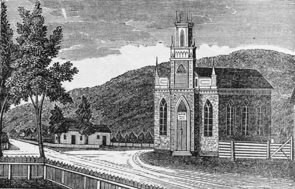 Detail of North-east view of the Episcopal church, Kent by American School