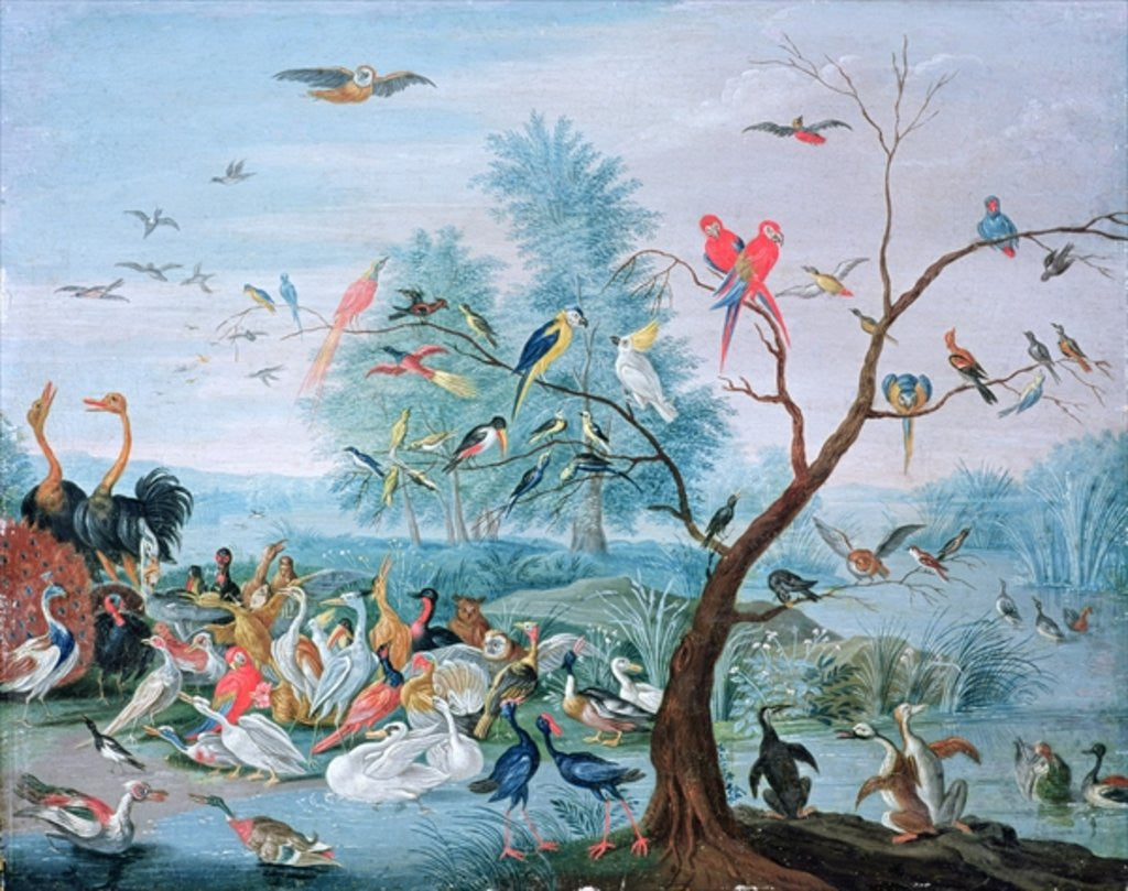 Detail of Tropical birds in a landscape by Jan van