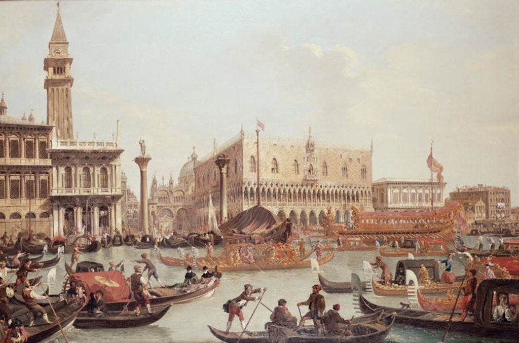 Detail of View of the Doge's Palace and the Piazzetta, Venice by Giuseppe Bernardino Bison