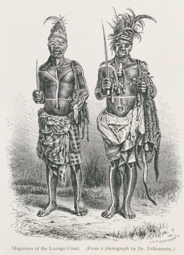 Detail of Magicians of the Loango Coast, engraved from a photograph by Dr. Falkenstein by English School