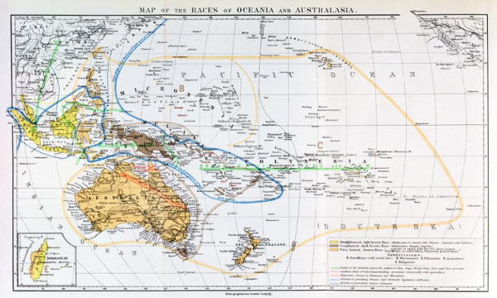 Detail of Map of the races of Oceania and Australasia by English School