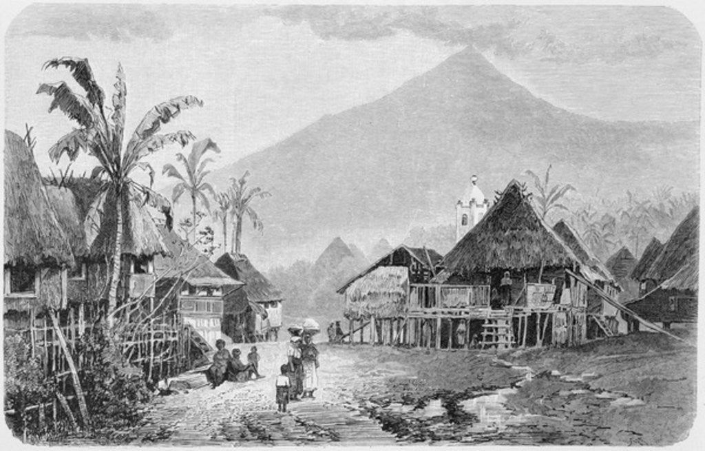 Detail of A Tagal village, Luzon in the Philippines by English School