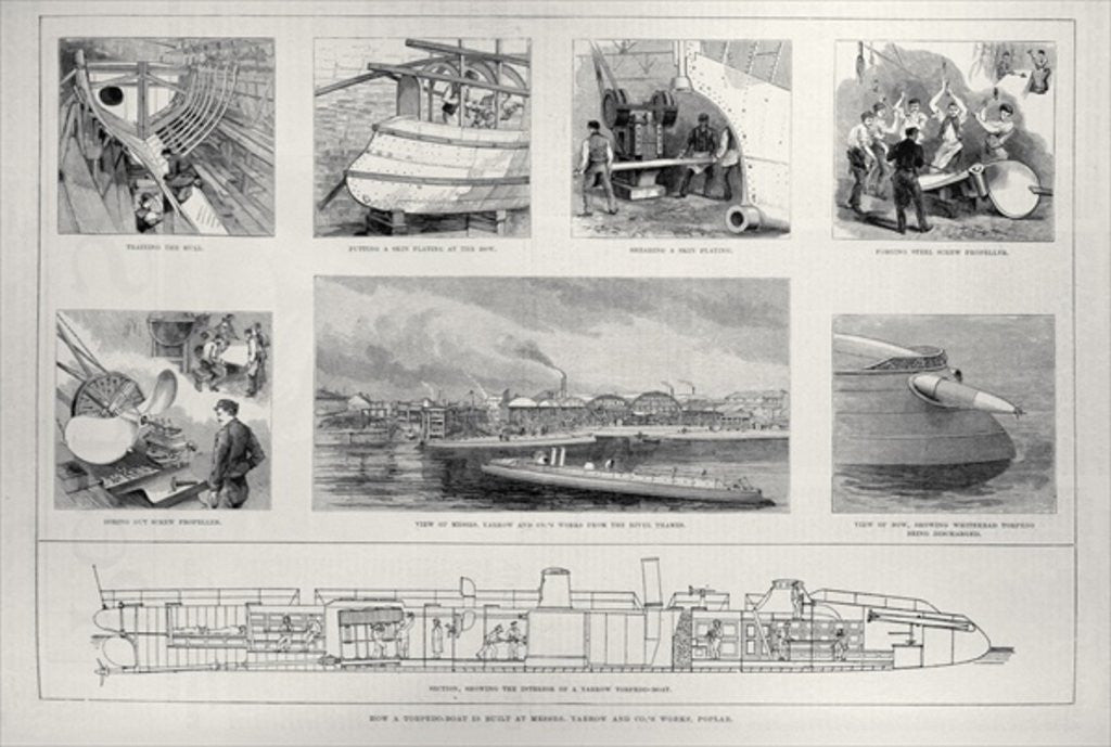 Detail of How a Torpedo Boat is Built at Messrs. Yarrow and Co.'s Works, Poplar by English School