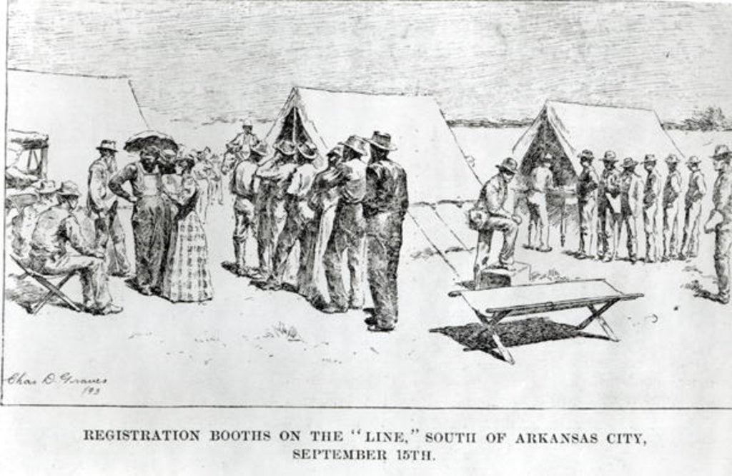 Detail of Registration Booths on the 'Line', South of Arkansas City, September 15th 1893 by Charles D. Graves