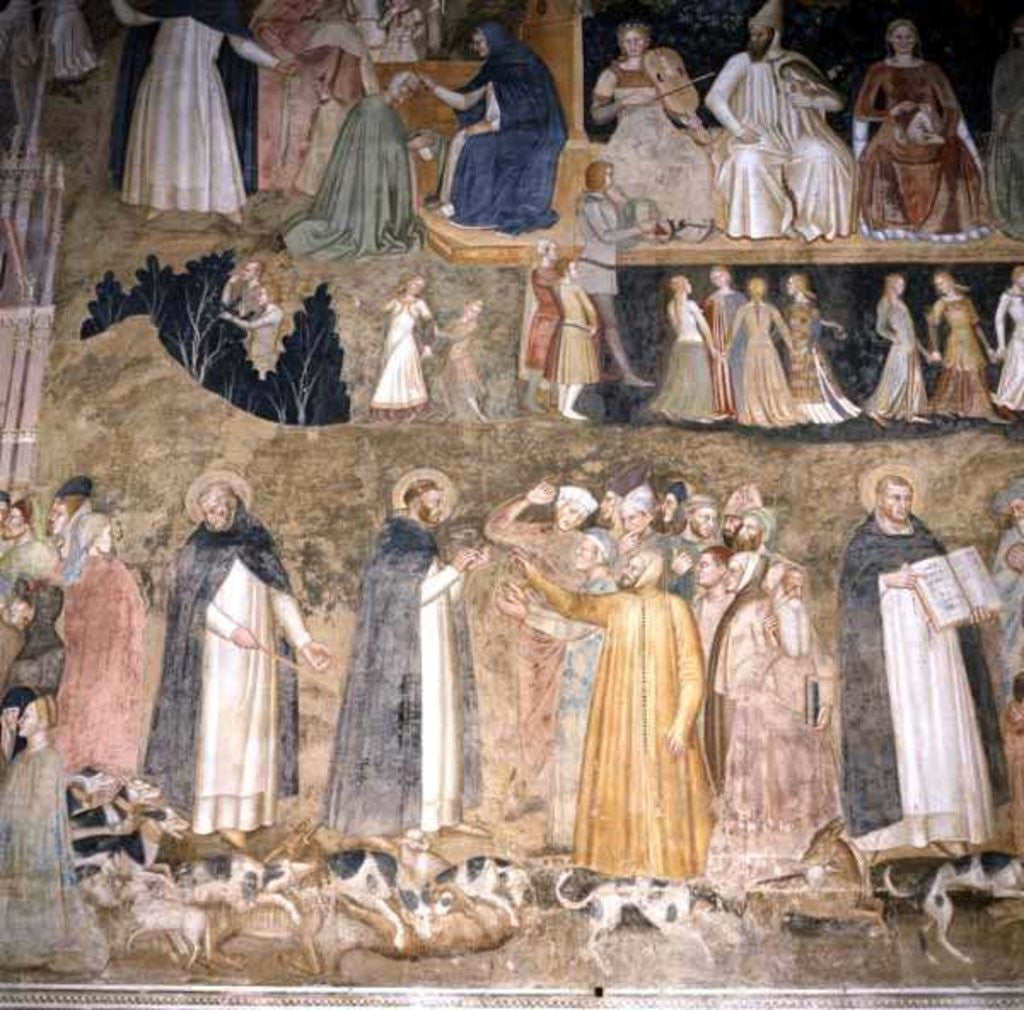 St. Dominic Sending Forth the Hounds of the Lord, with St. Peter Martyr and St. Thomas Aquinas by Andrea di Bonaiuto