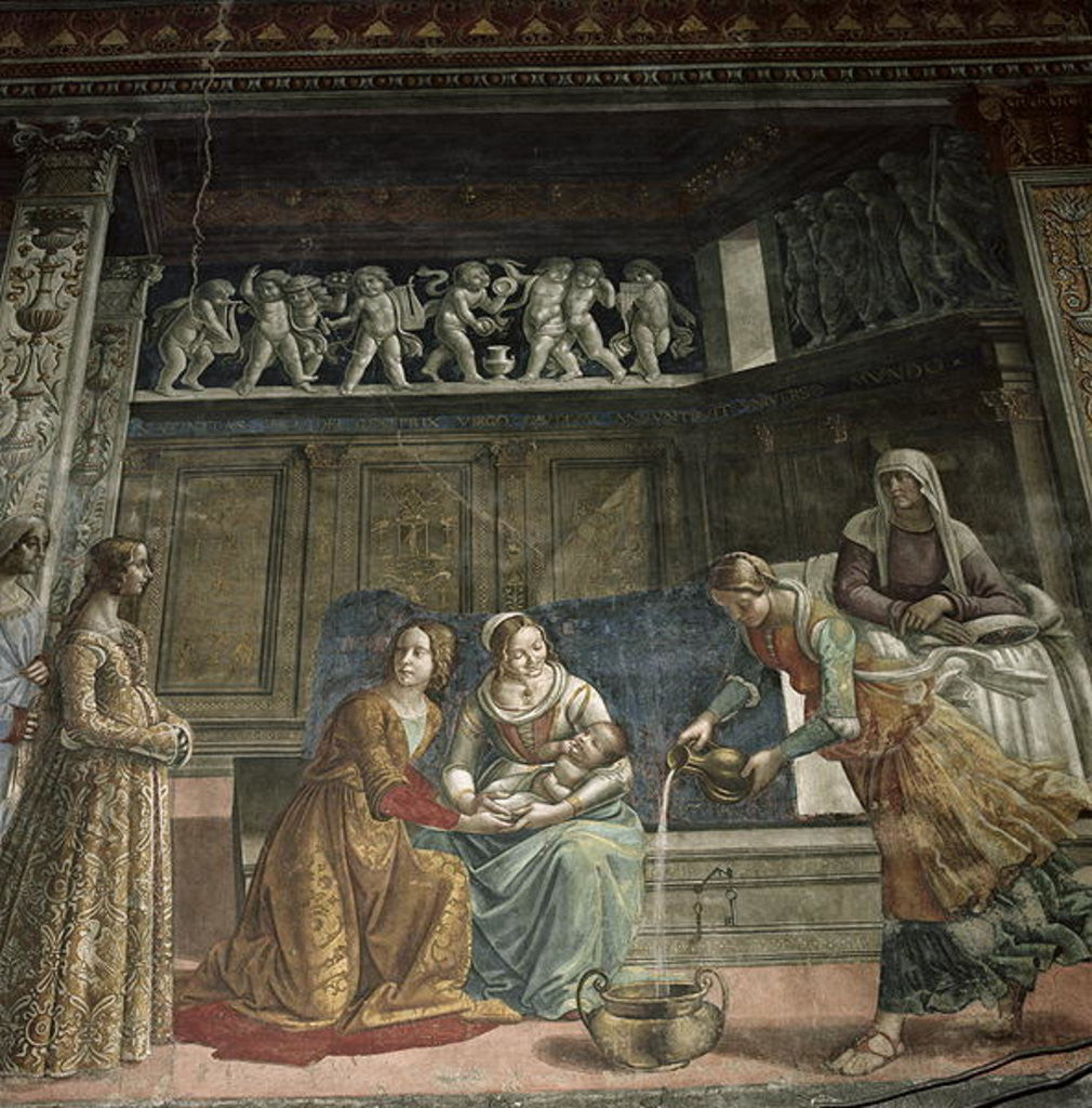 Detail of The Birth of the Virgin by Davide & Domenico Ghirlandaio