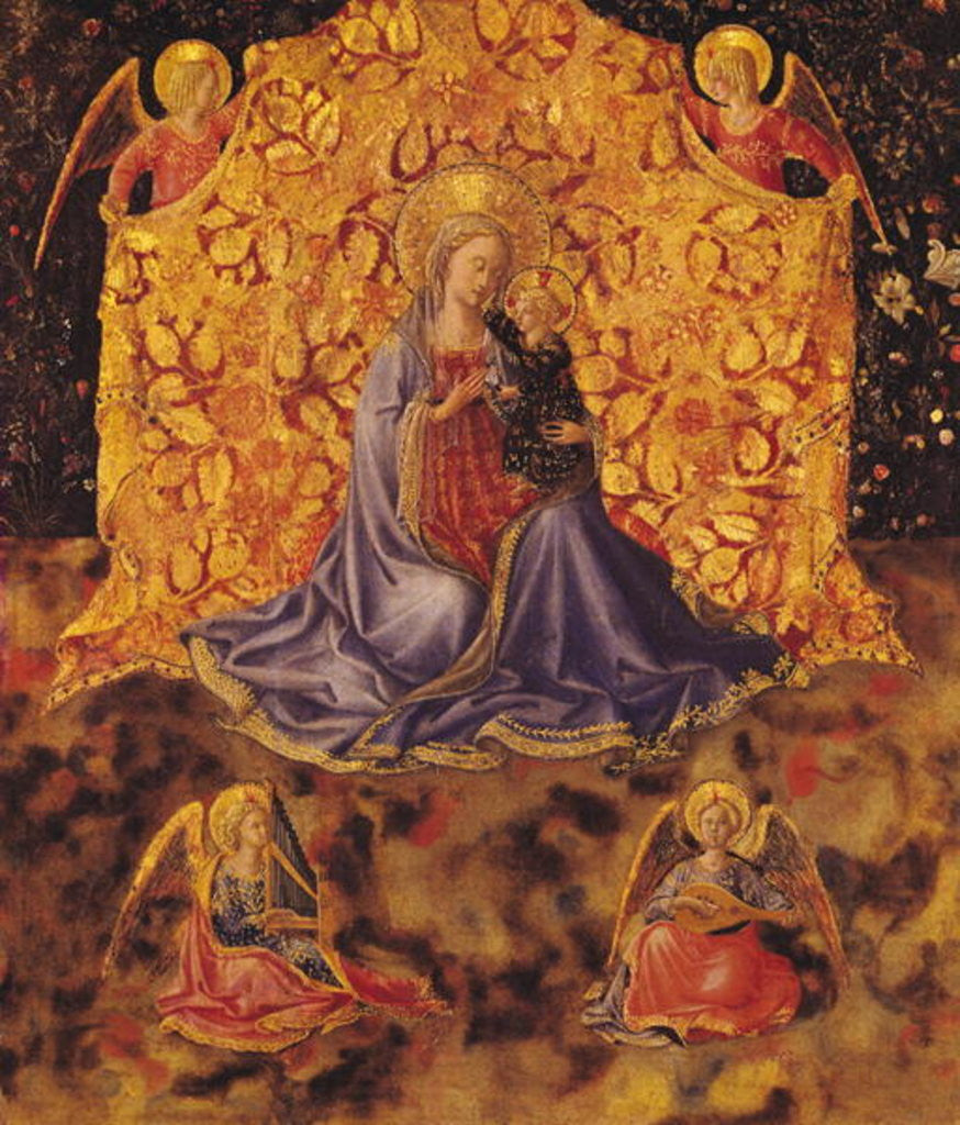 Detail of Madonna of Humility with Christ Child and Angels by Fra Angelico