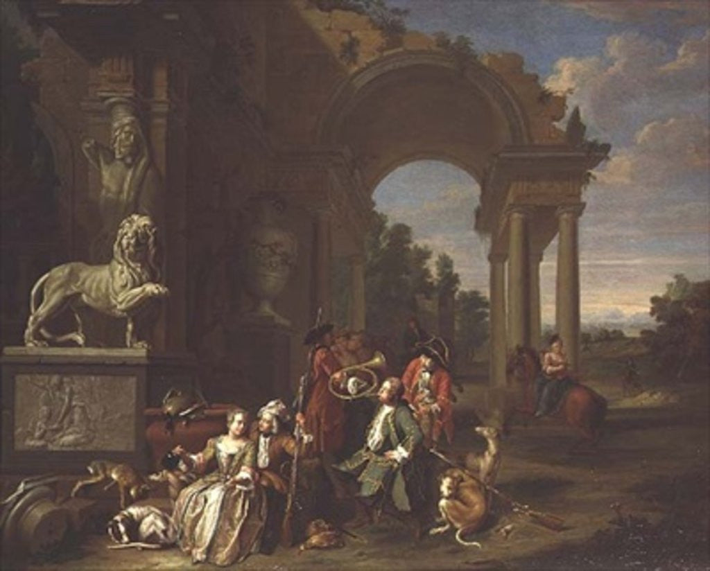 Detail of A Hunting party in classical ruins by Peter Jacob Horemans