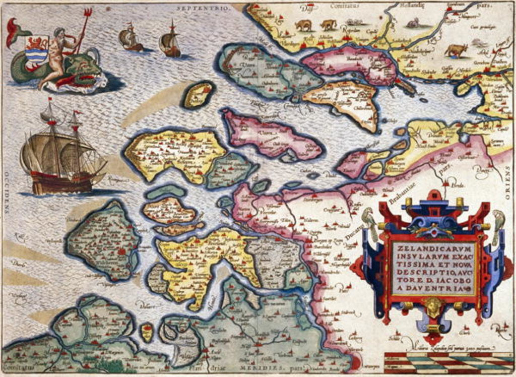 Detail of Map of Zeeland by Abraham Ortelius