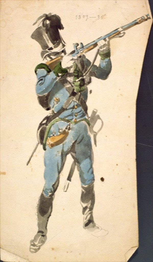Detail of A Rifleman of the Austrian Jaegers, the Prestige Corp of a National Elite by Johan Baptiste Heinefetter