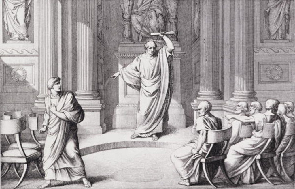 Detail of Cicero Denouncing Catiline, engraved by B.Barloccini by C.C Perkins