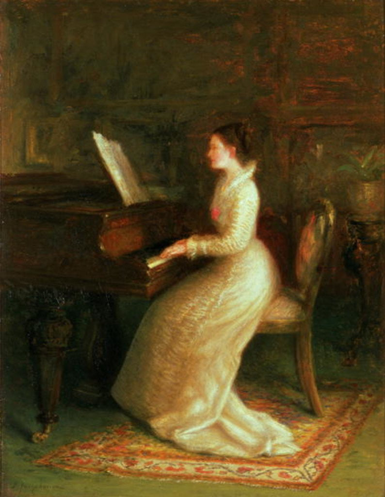 Detail of Lady at the Piano by Joseph Farquharson