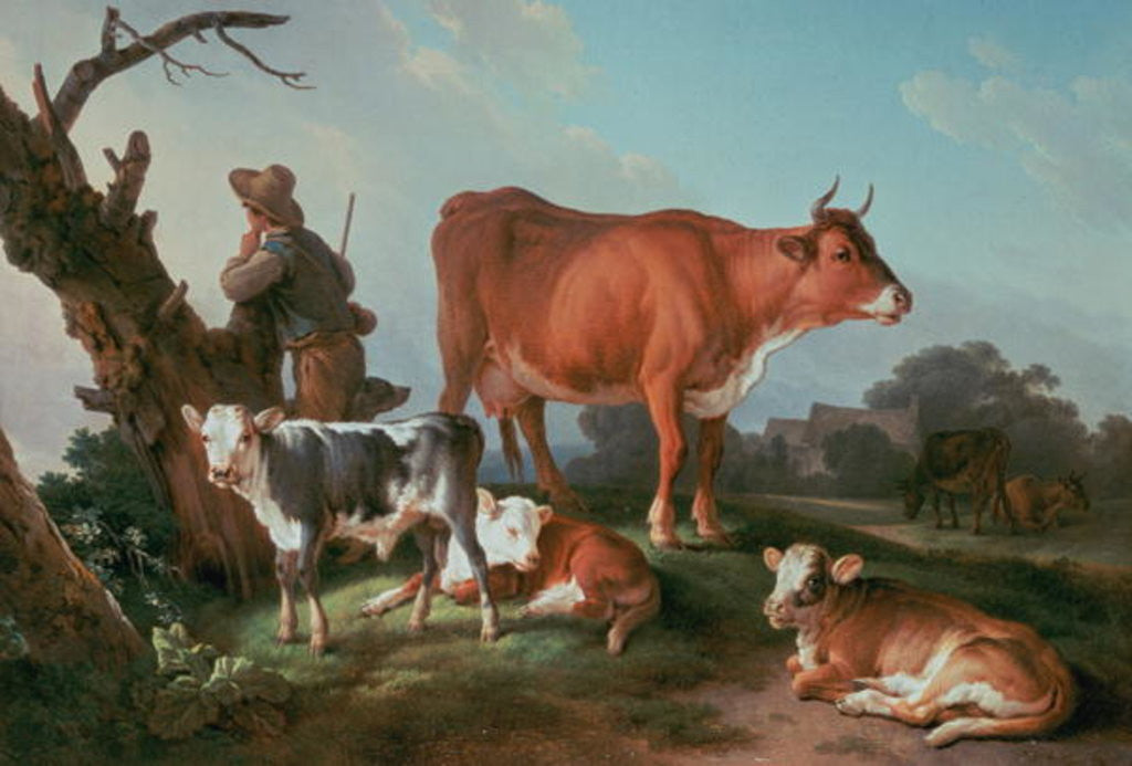 Pastoral scene with a cowherd