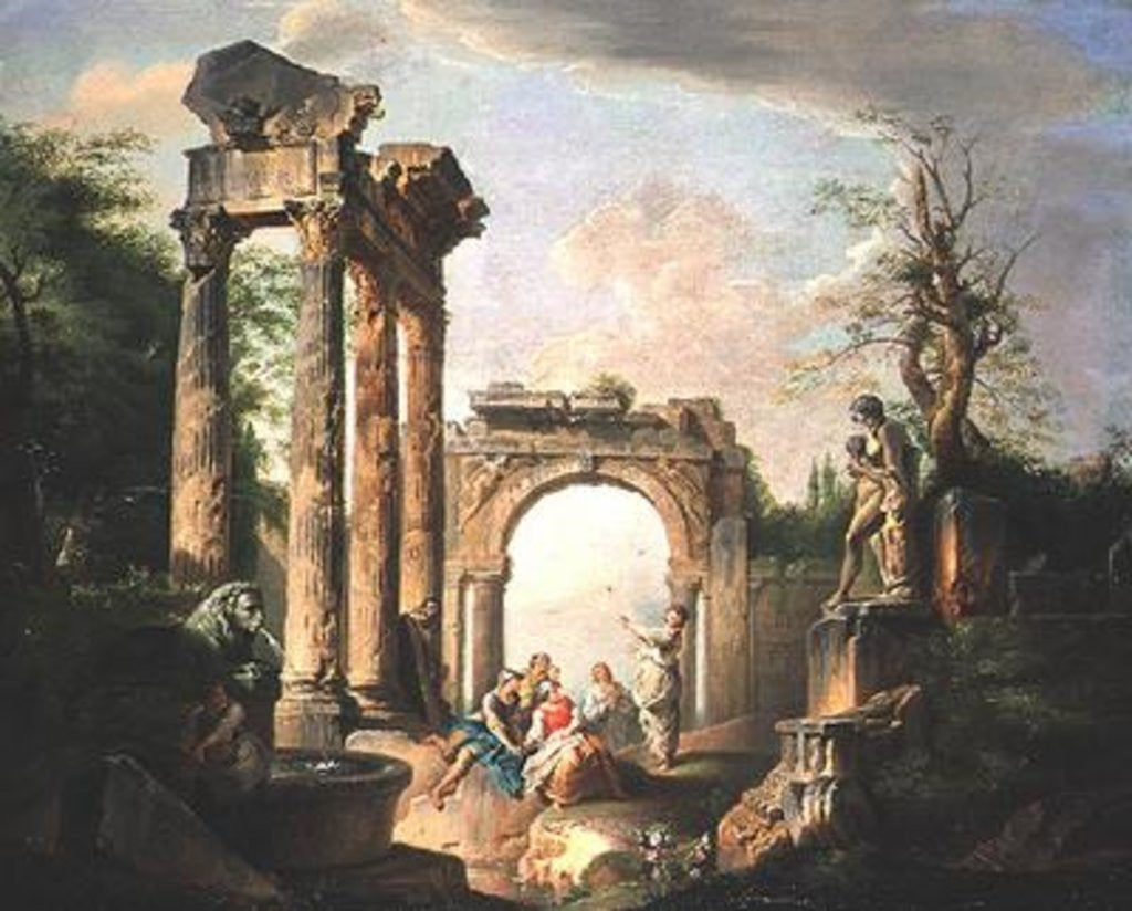 Detail of Arcadian Scene by Giovanni Paolo Pannini or Panini