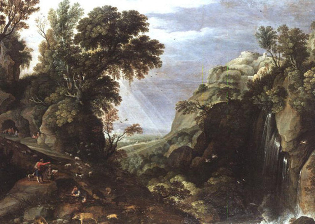 Detail of Classical landscape by Salomon van Ruisdael or Ruysdael