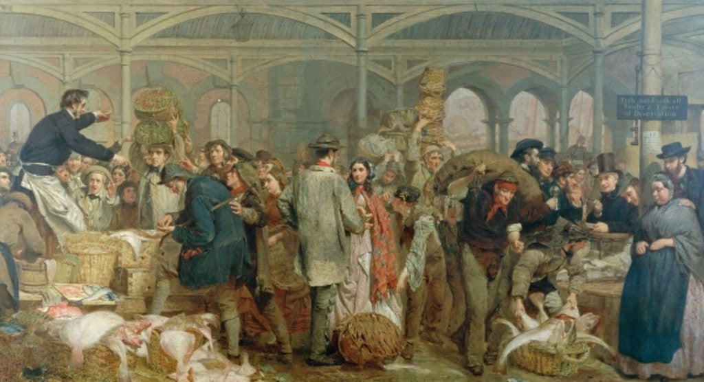 Detail of Billingsgate Fish Market by George Elgar Hicks