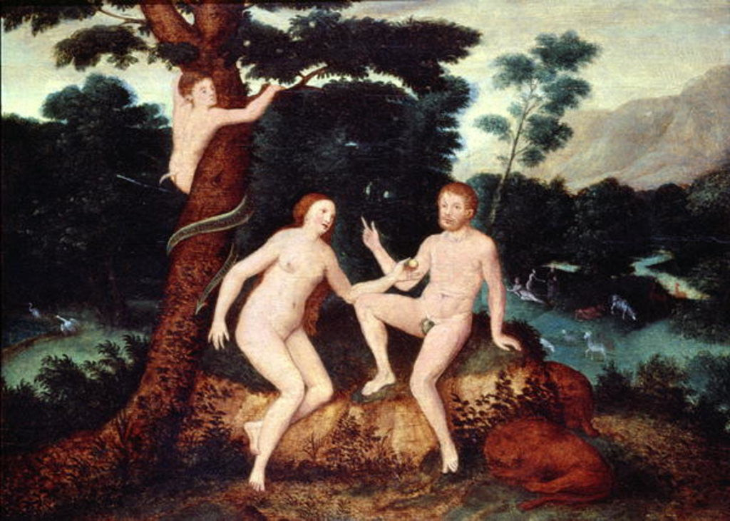 Detail of Adam and Eve in the Garden of Eden by Lucas Cranach