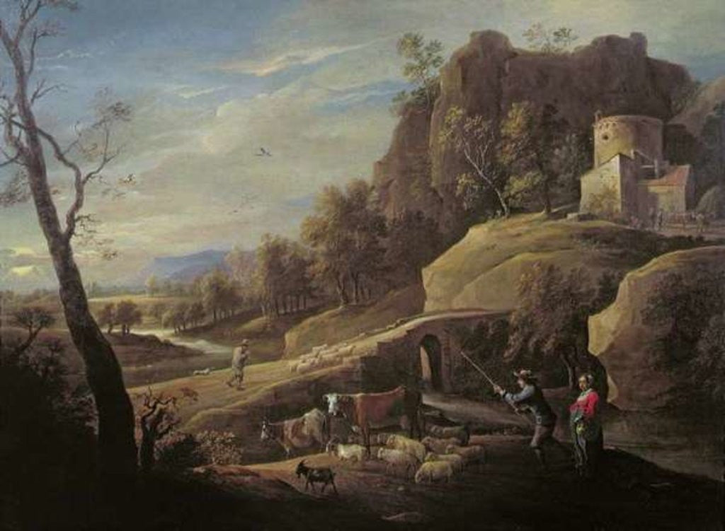 Detail of Landscape with Farmers tending their Animals by Pieter the Younger Mulier