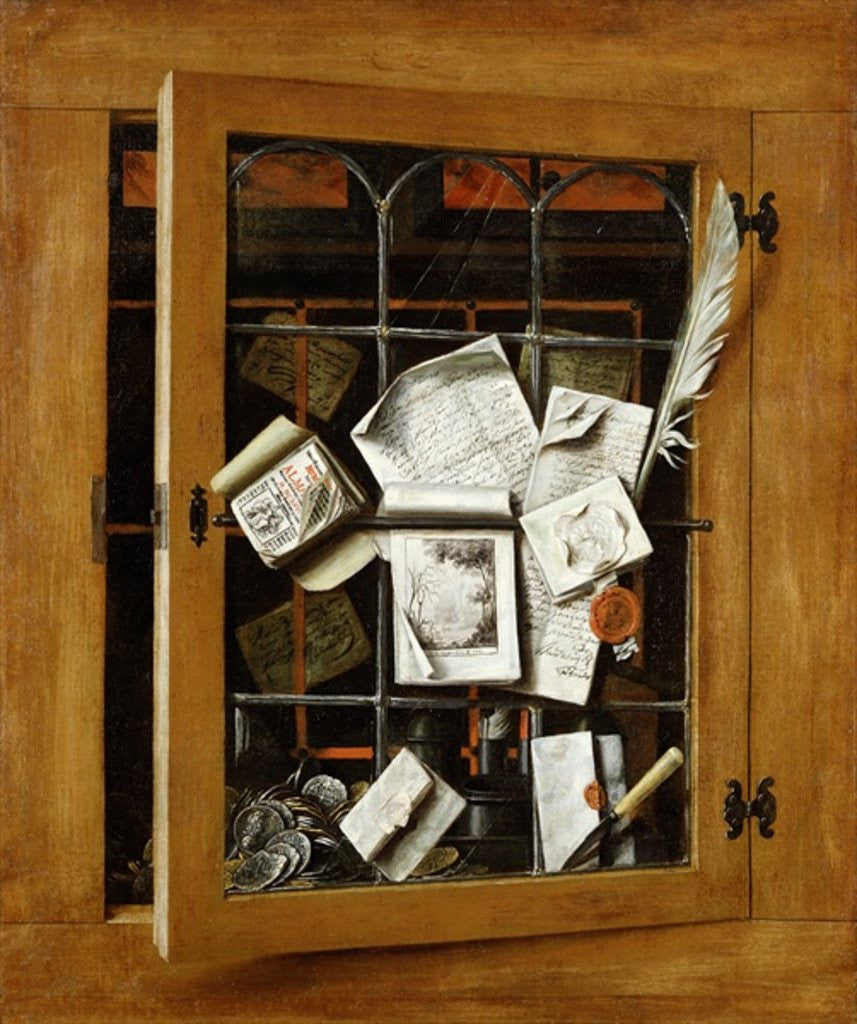Detail of A trompe l'oeil of an open glazed cupboard door, with numerous papers and objects by Cornelis Norbertus Gysbrechts