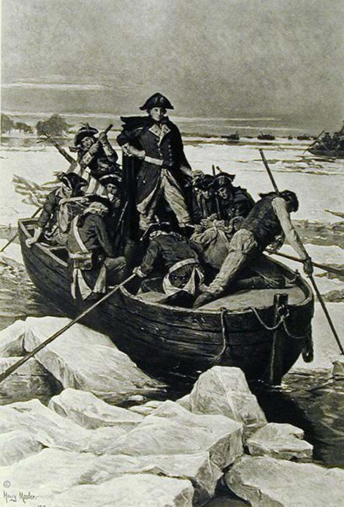 Detail of George Washington crossing the Delaware River, 25th December 1776 by Henry Mosler