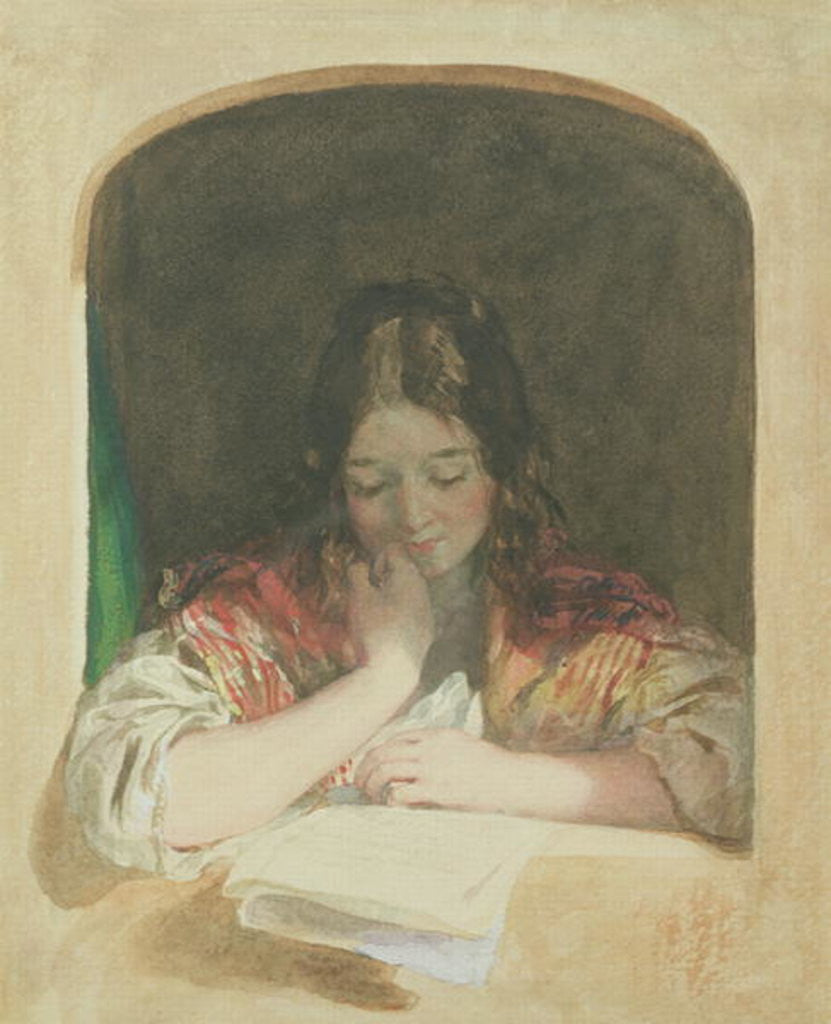 Detail of Girl Reading at a Window by Karoly or Charles Brocky