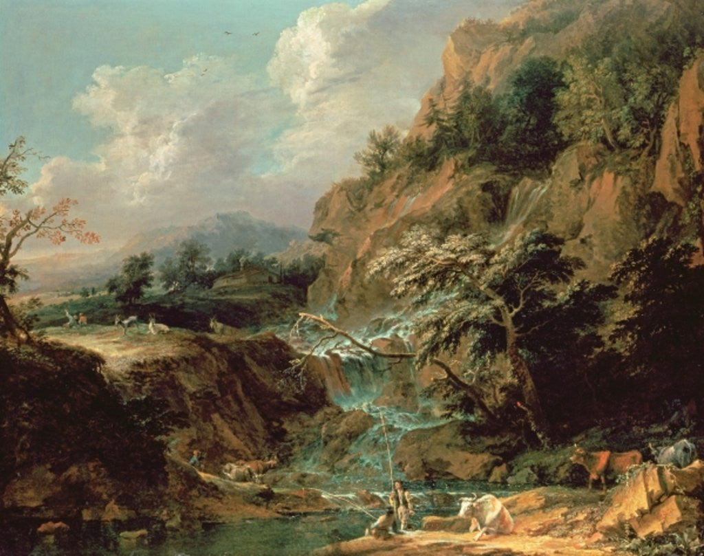 Detail of Landscape with waterfall by Joachim Franz Beich