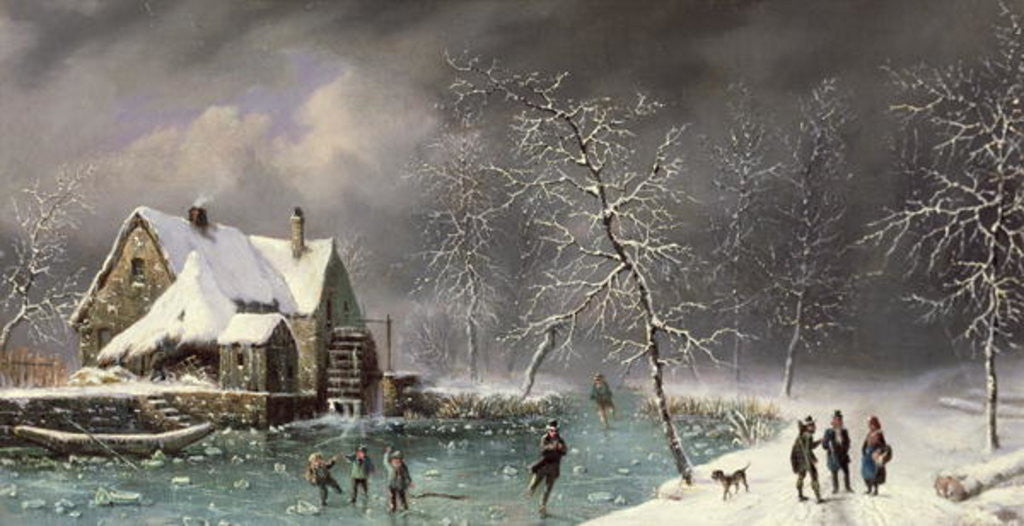 Detail of Winter Scene by Louis Claude Mallebranche