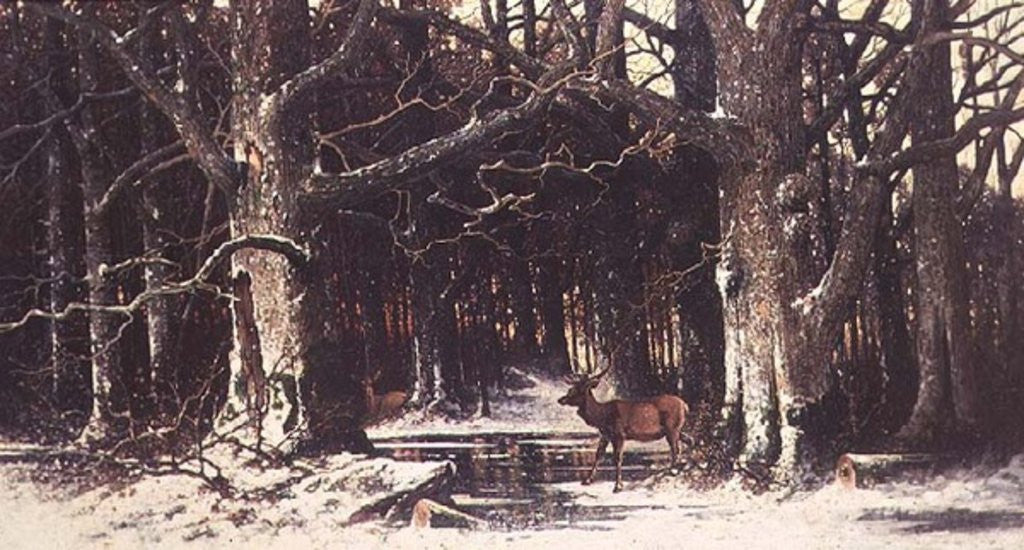Detail of Deer in the Forest by G. Schneyder
