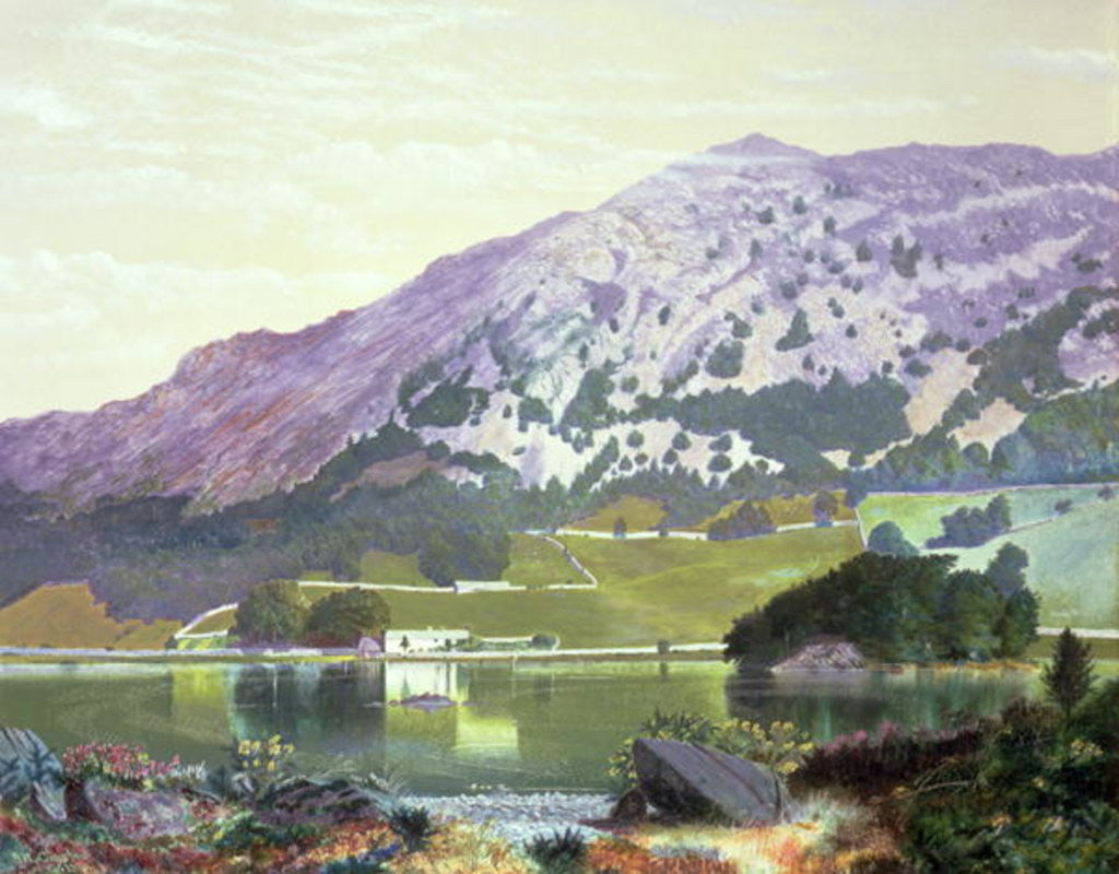 Detail of Nab Scar from the South Side of Rydal Water - Heather in Bloom, September by John Atkinson Grimshaw