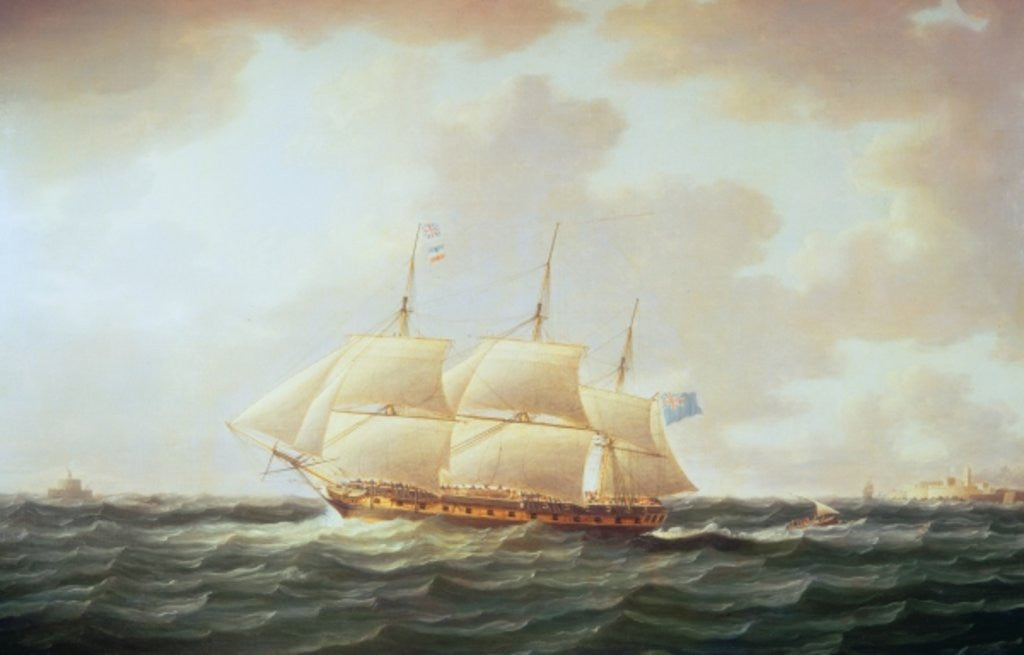 Detail of H.M.S. Minerva by Thomas Buttersworth