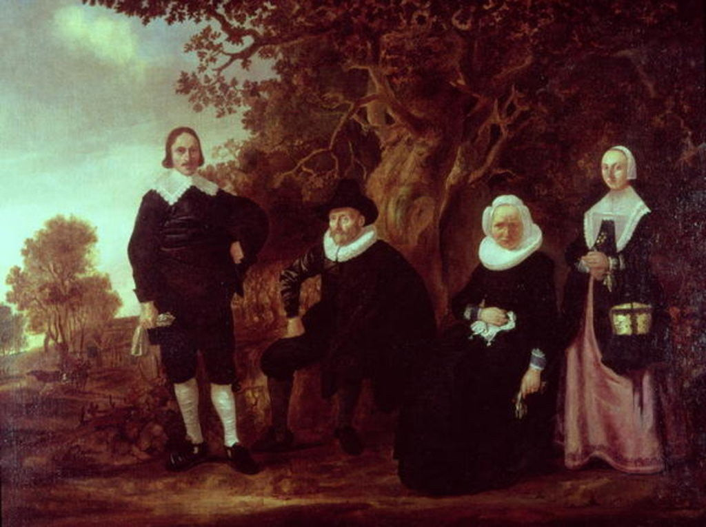 Detail of Family Group in a landscape by Gerrit van Donck