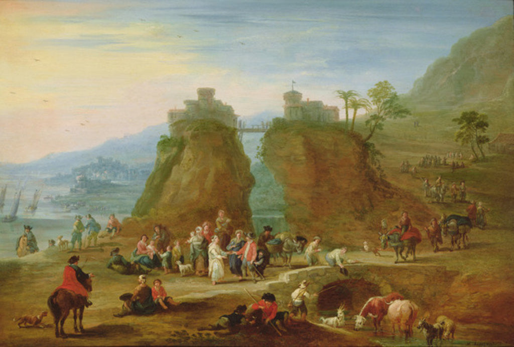 Detail of Figures and cattle by Mathys Schoevaerdts