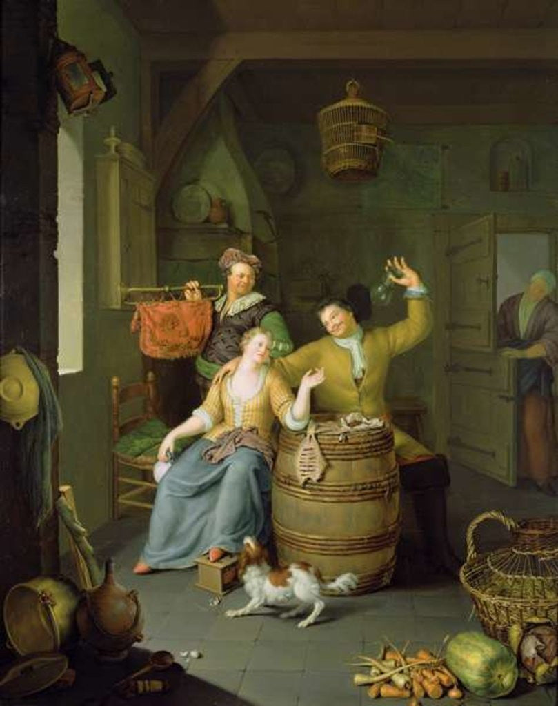 Detail of Interior with a couple celebrating by Frans van Mieris