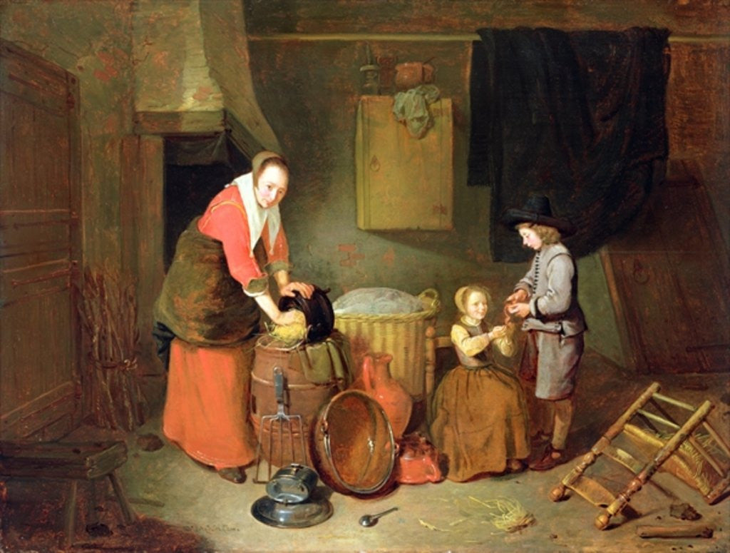 A Kitchen Interior, 17th century by Quiringh Gerritsz. van Brekelenkam