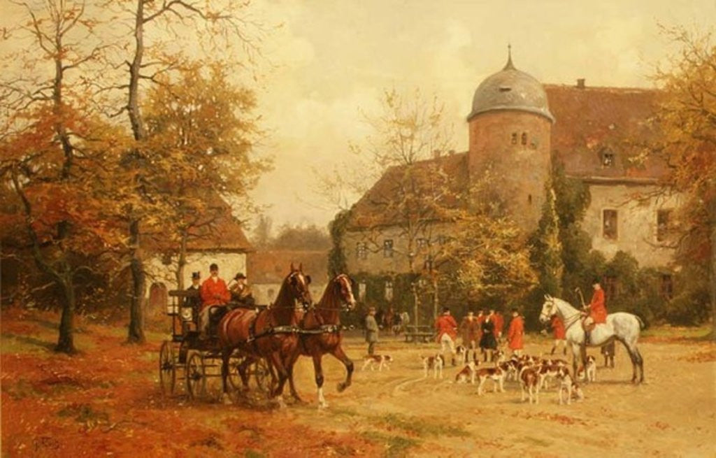 Detail of Arriving for the Hunt by G. Koch