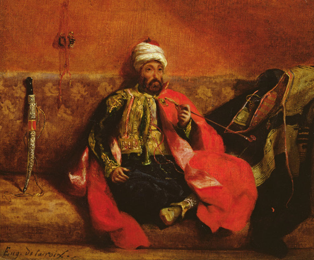 Detail of A Turk smoking sitting on a sofa by Ferdinand Victor Eugene Delacroix