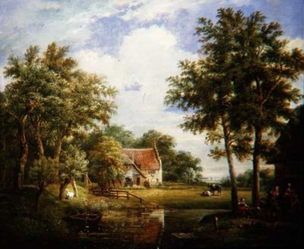Detail of Dutch Farm Scene by Carel Lodewijk Hansen
